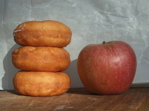The Beginning:  an apple and a donut